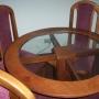 juego de comedor: mesa redonda de madera y vidrio con 4 sillas
