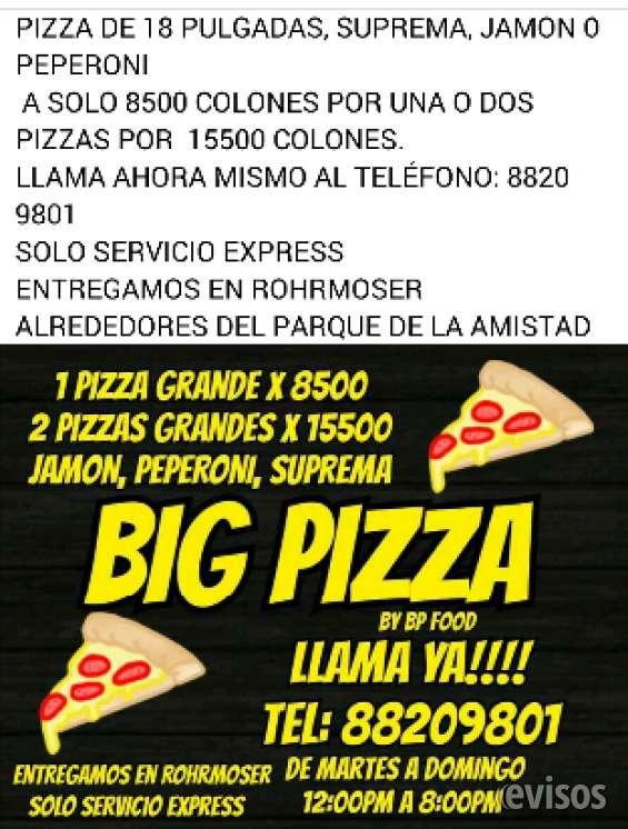 Big pizza rohrmoser , pizzas extra grandes a solo ¢8.500 tel:8820 9801