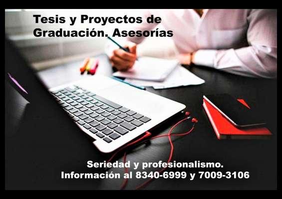 Tesis y proyectos de graduación. asesorías