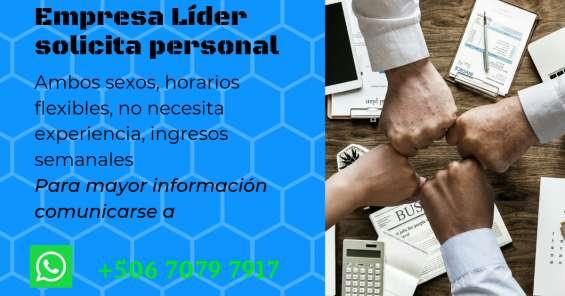 Empresa líder busca personal